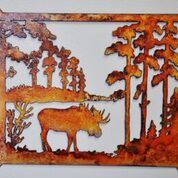 Metal art, moose and landscape
