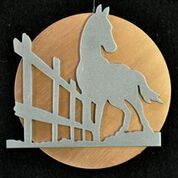 Metal art, horse and fence