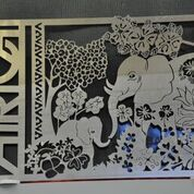 Metal art, elephants in jungle