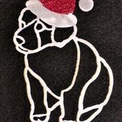 Metal art, puppy with Santa Claus hat