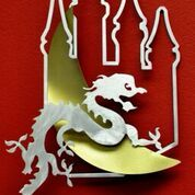 Metal art, dragon and castle