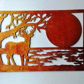 Metal art, nature theme with elk