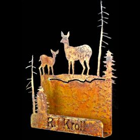 Metal art, doe and fawn