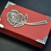 Metal art, box with a rose