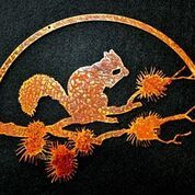 Metal art, squirrel